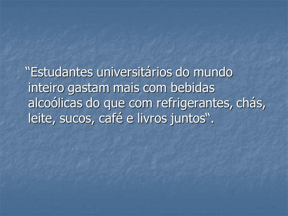 Estudantes universitários do mundo inteiro gastam mais com bebidas alcoólicas do que com refrigerantes, chás, leite, sucos, café e livros juntos. Estu