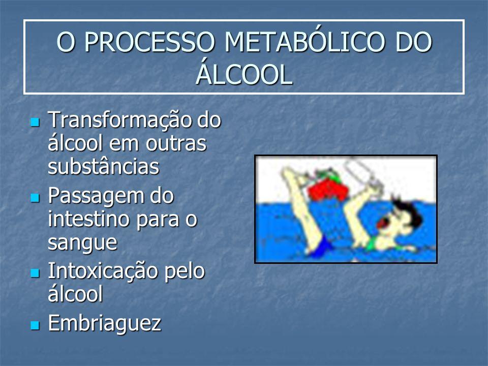 O PROCESSO METABÓLICO DO ÁLCOOL Transformação do álcool em outras substâncias Transformação do álcool em outras substâncias Passagem do intestino para