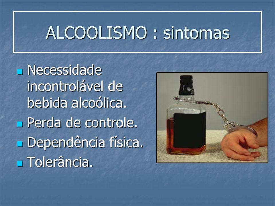 ALCOOLISMO : sintomas Necessidade incontrolável de bebida alcoólica. Necessidade incontrolável de bebida alcoólica. Perda de controle. Perda de contro