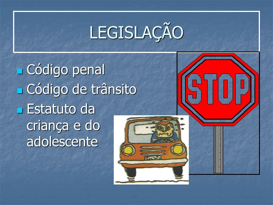 LEGISLAÇÃO Código penal Código penal Código de trânsito Código de trânsito Estatuto da criança e do adolescente Estatuto da criança e do adolescente