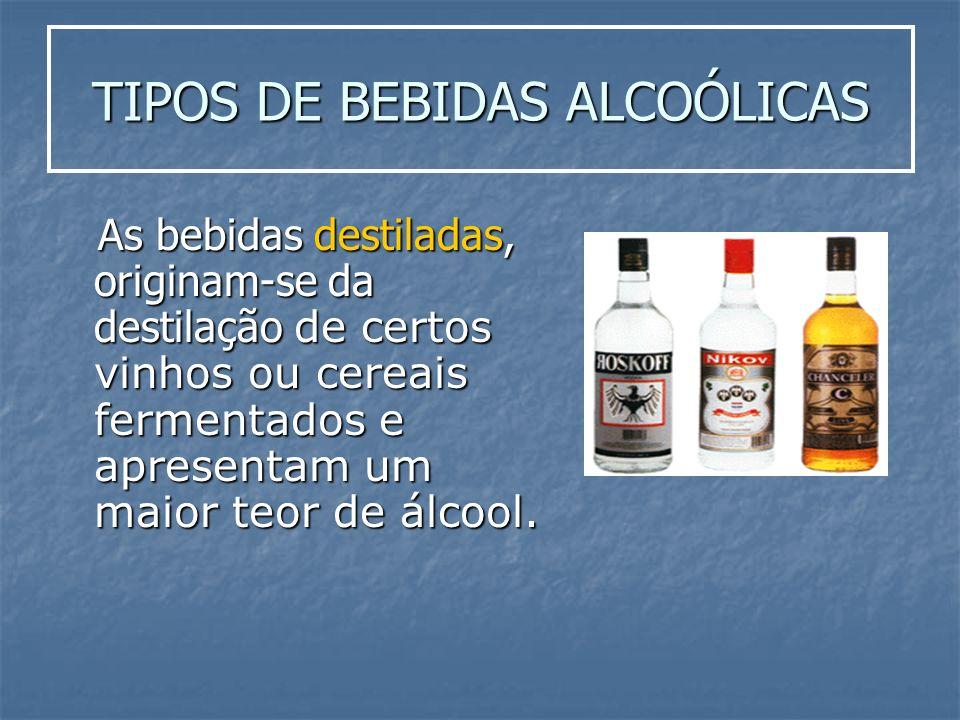 TIPOS DE BEBIDAS ALCOÓLICAS As bebidas destiladas, originam-se da destilação de certos vinhos ou cereais fermentados e apresentam um maior teor de álc