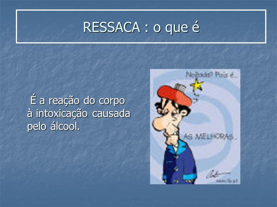 RESSACA : o que é É a reação do corpo à intoxicação causada pelo álcool. É a reação do corpo à intoxicação causada pelo álcool.