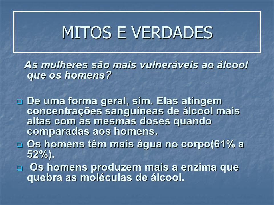 MITOS E VERDADES As mulheres são mais vulneráveis ao álcool que os homens? As mulheres são mais vulneráveis ao álcool que os homens? De uma forma gera