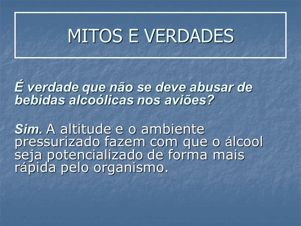 MITOS E VERDADES É verdade que não se deve abusar de bebidas alcoólicas nos aviões? É verdade que não se deve abusar de bebidas alcoólicas nos aviões?