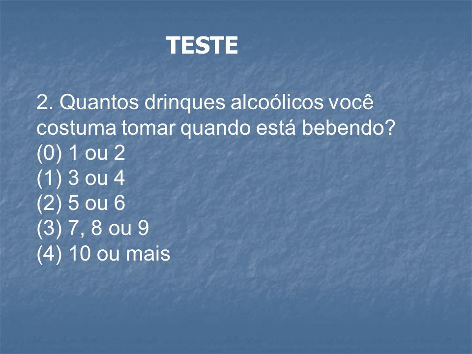 TESTE 2. Quantos drinques alcoólicos você costuma tomar quando está bebendo? (0) 1 ou 2 (1) 3 ou 4 (2) 5 ou 6 (3) 7, 8 ou 9 (4) 10 ou mais