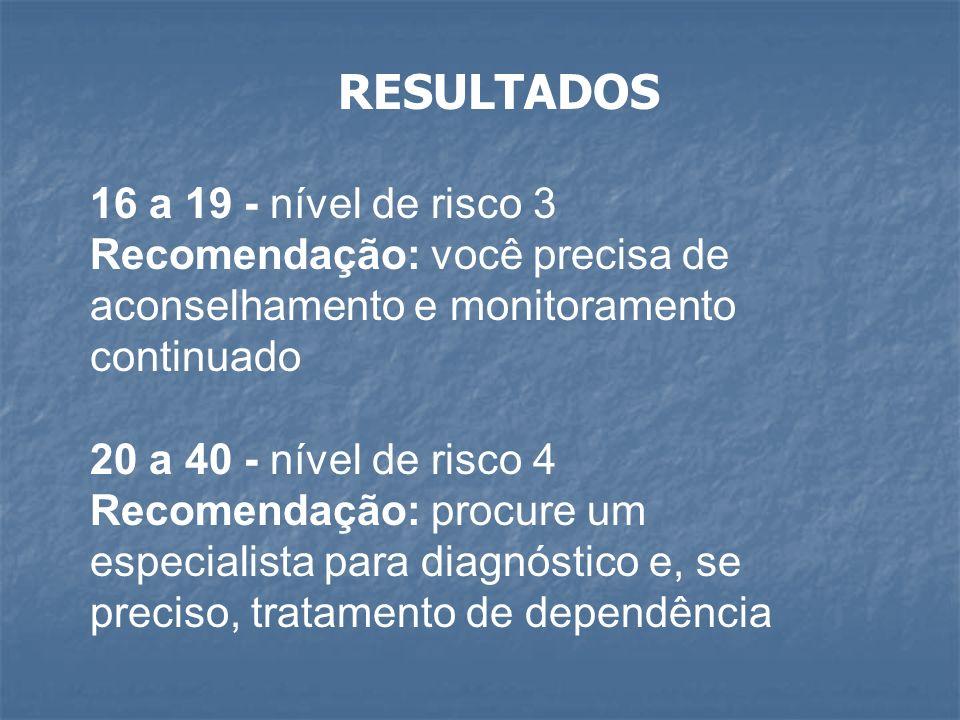 RESULTADOS 16 a 19 - nível de risco 3 Recomendação: você precisa de aconselhamento e monitoramento continuado 20 a 40 - nível de risco 4 Recomendação: