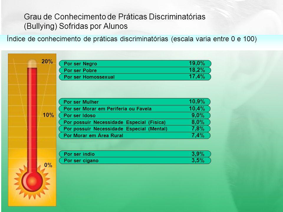 Grau de Conhecimento de Práticas Discriminatórias (Bullying) Sofridas por Alunos 20% 10% 0% Por ser Negro 19,0% Por ser Pobre 18,2% Por ser Homossexual 17,4% Por ser Mulher Por ser Morar em Periferia ou Favela Índice de conhecimento de práticas discriminatórias (escala varia entre 0 e 100) 10,9% 10,4% Por ser Idoso Por possuir Necessidade Especial (Física) 9,0% 8,0% Por possuir Necessidade Especial (Mental) Por Morar em Área Rural 7,8% 7,4% Por ser índio Por ser cigano 3,9% 3,5%