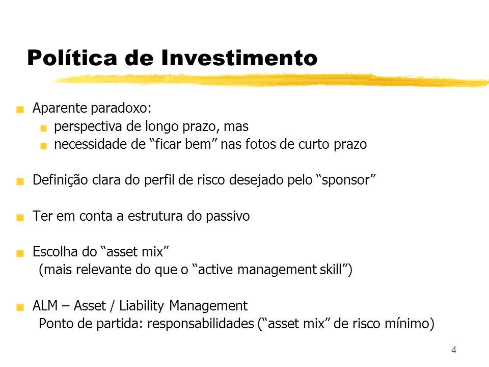 4 Política de Investimento Aparente paradoxo: perspectiva de longo prazo, mas necessidade de ficar bem nas fotos de curto prazo Definição clara do per