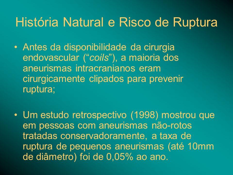 História Natural e Risco de Ruptura Antes da disponibilidade da cirurgia endovascular (coils), a maioria dos aneurismas intracranianos eram cirurgicam