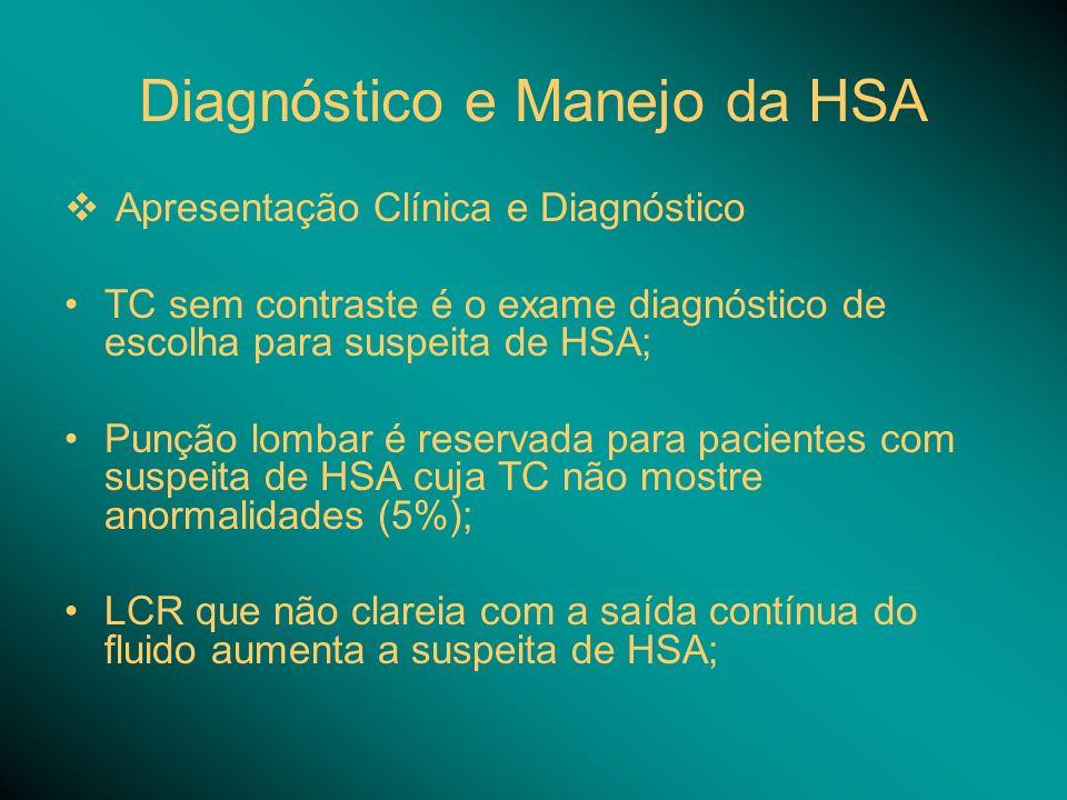 Diagnóstico e Manejo da HSA Apresentação Clínica e Diagnóstico TC sem contraste é o exame diagnóstico de escolha para suspeita de HSA; Punção lombar é reservada para pacientes com suspeita de HSA cuja TC não mostre anormalidades (5%); LCR que não clareia com a saída contínua do fluido aumenta a suspeita de HSA;