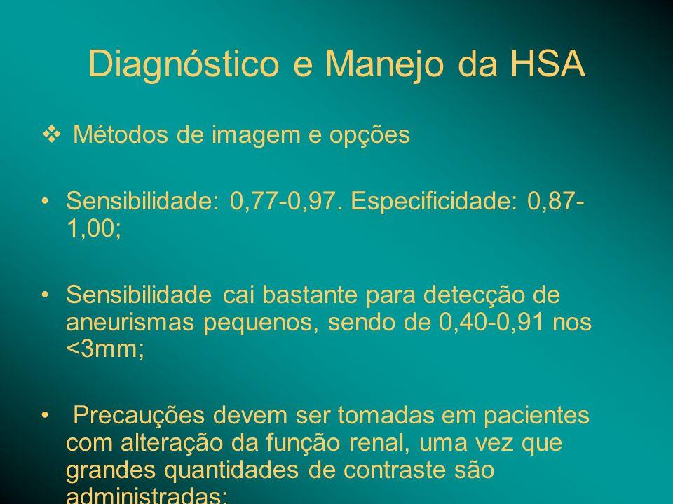 Diagnóstico e Manejo da HSA Métodos de imagem e opções Sensibilidade: 0,77-0,97. Especificidade: 0,87- 1,00; Sensibilidade cai bastante para detecção