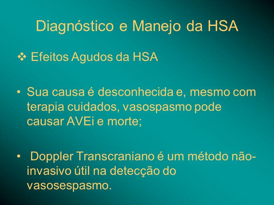 Diagnóstico e Manejo da HSA Efeitos Agudos da HSA Sua causa é desconhecida e, mesmo com terapia cuidados, vasospasmo pode causar AVEi e morte; Doppler Transcraniano é um método não- invasivo útil na detecção do vasosespasmo.