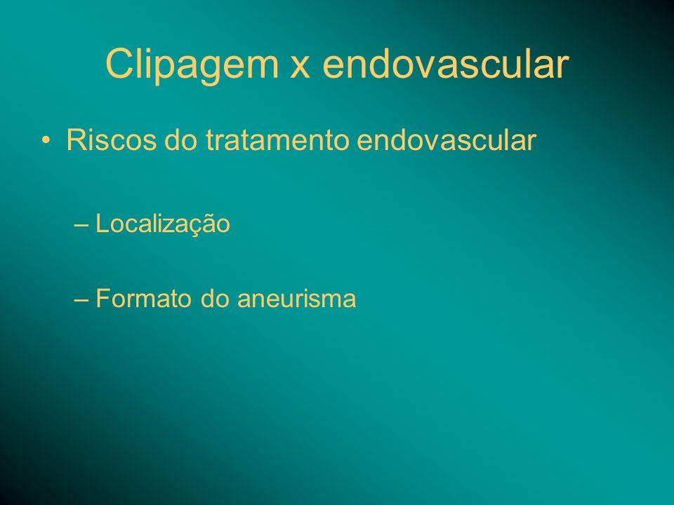 Clipagem x endovascular Riscos do tratamento endovascular –Localização –Formato do aneurisma