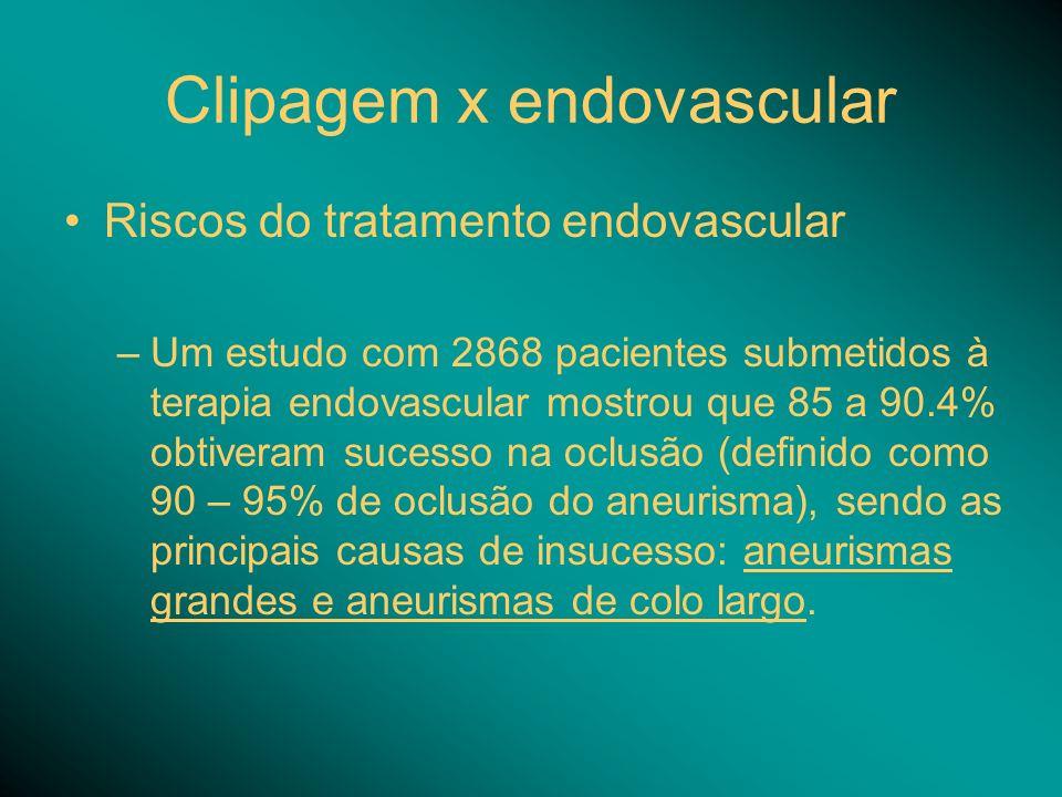 Clipagem x endovascular Riscos do tratamento endovascular –Um estudo com 2868 pacientes submetidos à terapia endovascular mostrou que 85 a 90.4% obtiveram sucesso na oclusão (definido como 90 – 95% de oclusão do aneurisma), sendo as principais causas de insucesso: aneurismas grandes e aneurismas de colo largo.