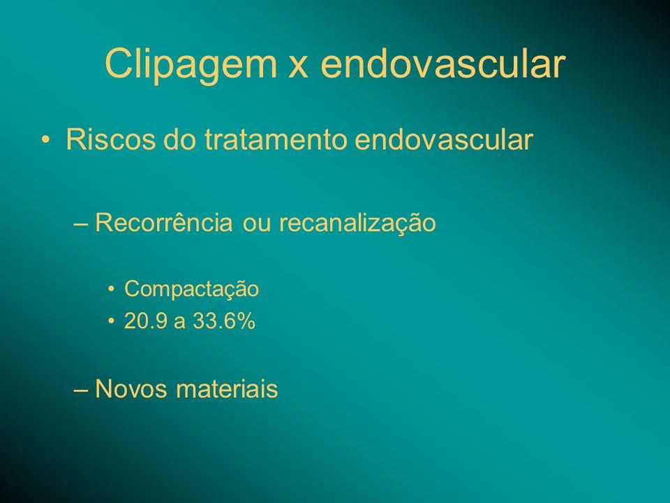 Clipagem x endovascular Riscos do tratamento endovascular –Recorrência ou recanalização Compactação 20.9 a 33.6% –Novos materiais