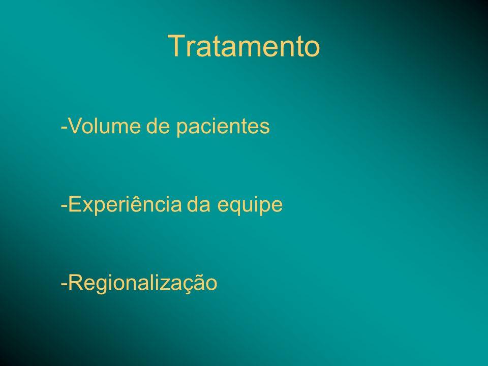 Tratamento -Volume de pacientes -Experiência da equipe -Regionalização