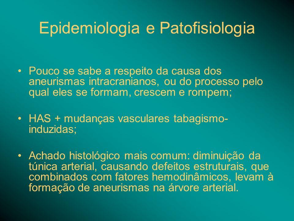 Epidemiologia e Patofisiologia Pouco se sabe a respeito da causa dos aneurismas intracranianos, ou do processo pelo qual eles se formam, crescem e rompem; HAS + mudanças vasculares tabagismo- induzidas; Achado histológico mais comum: diminuição da túnica arterial, causando defeitos estruturais, que combinados com fatores hemodinâmicos, levam à formação de aneurismas na árvore arterial.