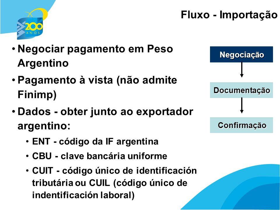 10 Fluxo - Importação Negociação Documentação Confirmação Negociar pagamento em Peso Argentino Pagamento à vista (não admite Finimp) Dados - obter jun
