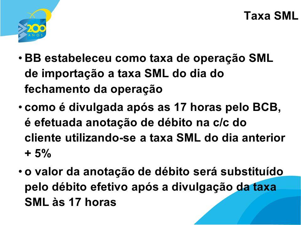 16 Taxa SML BB estabeleceu como taxa de operação SML de importação a taxa SML do dia do fechamento da operação como é divulgada após as 17 horas pelo