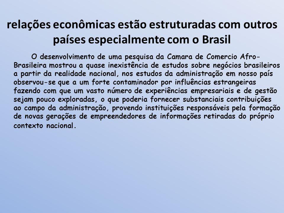relações econômicas estão estruturadas com outros países especialmente com o Brasil O desenvolvimento de uma pesquisa da Camara de Comercio Afro- Bras
