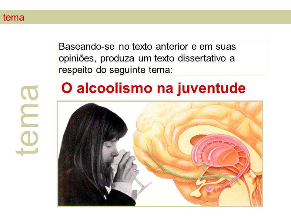 Baseando-se no texto anterior e em suas opiniões, produza um texto dissertativo a respeito do seguinte tema: tema O alcoolismo na juventude