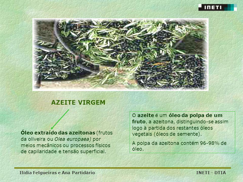 Ilídia Felgueiras e Ana Partidário INETI - DTIA Óleo extraído das azeitonas (frutos da oliveira ou Olea europaea) por meios mecânicos ou processos fís