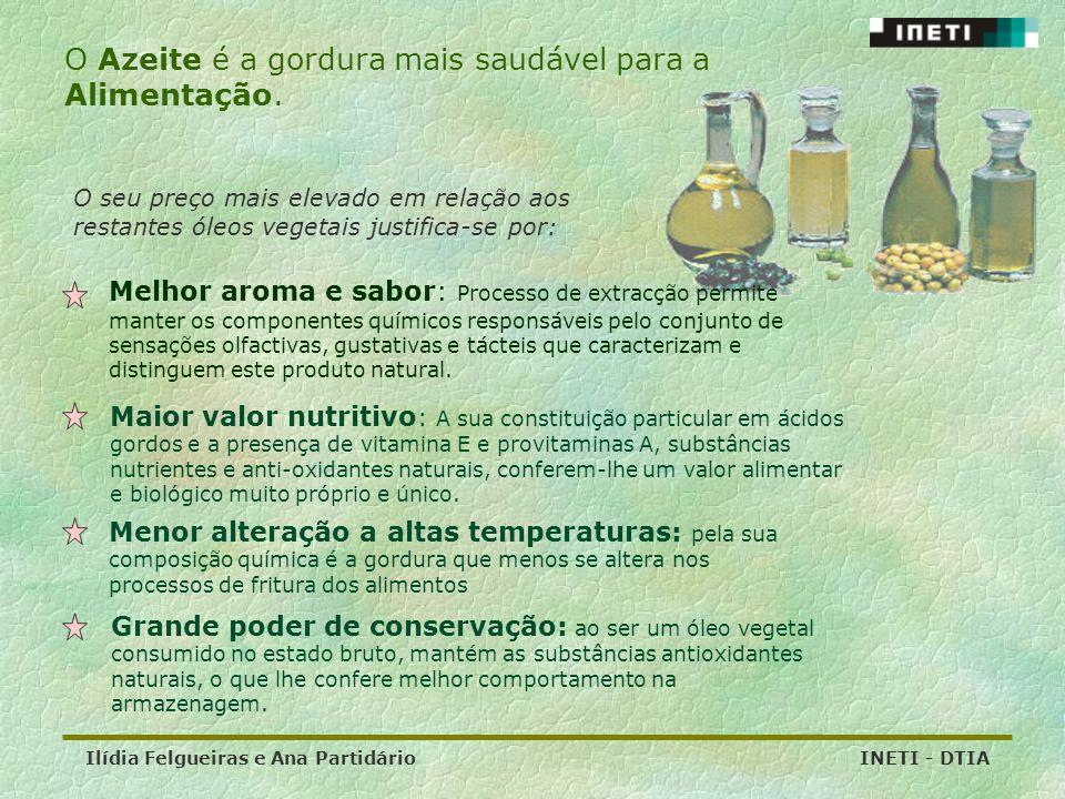 Ilídia Felgueiras e Ana Partidário INETI - DTIA O Azeite é a gordura mais saudável para a Alimentação. Melhor aroma e sabor: Processo de extracção per