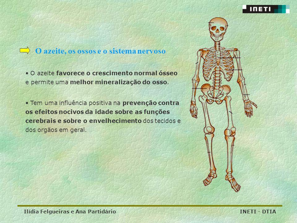 Ilídia Felgueiras e Ana Partidário INETI - DTIA O azeite, os ossos e o sistema nervoso O azeite favorece o crescimento normal ósseo e permite uma melh