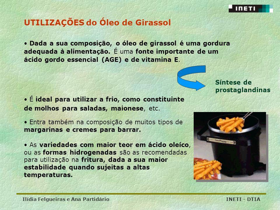 Ilídia Felgueiras e Ana Partidário INETI - DTIA É ideal para utilizar a frio, como constituinte de molhos para saladas, maionese, etc. UTILIZAÇÕES do