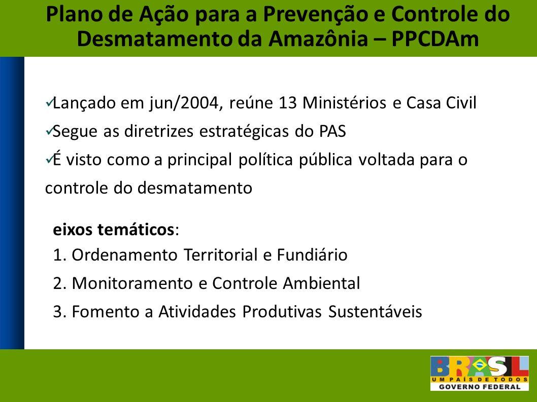Lançado em jun/2004, reúne 13 Ministérios e Casa Civil Segue as diretrizes estratégicas do PAS É visto como a principal política pública voltada para o controle do desmatamento Plano de Ação para a Prevenção e Controle do Desmatamento da Amazônia – PPCDAm eixos temáticos: 1.