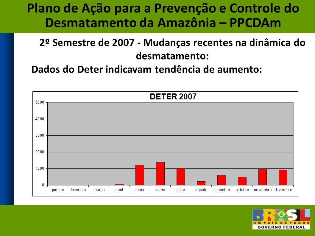 2º Semestre de 2007 - Mudanças recentes na dinâmica do desmatamento: Dados do Deter indicavam tendência de aumento: Plano de Ação para a Prevenção e Controle do Desmatamento da Amazônia – PPCDAm