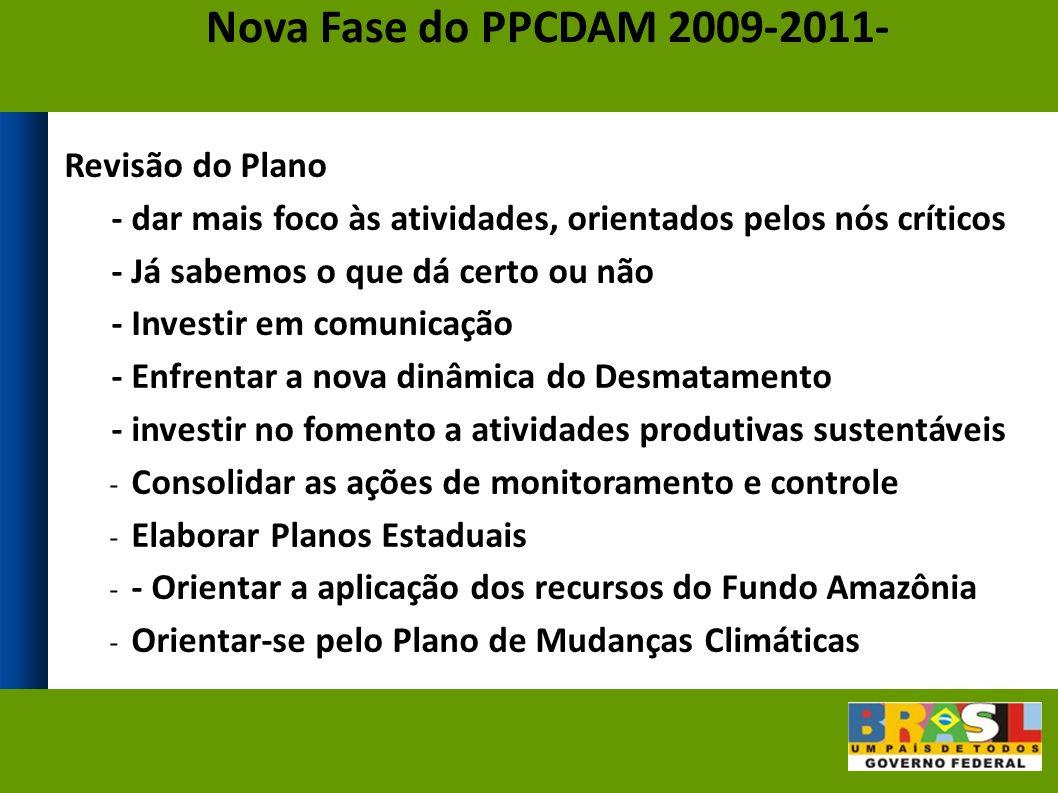 Revisão do Plano - dar mais foco às atividades, orientados pelos nós críticos - Já sabemos o que dá certo ou não - Investir em comunicação - Enfrentar a nova dinâmica do Desmatamento - investir no fomento a atividades produtivas sustentáveis - Consolidar as ações de monitoramento e controle - Elaborar Planos Estaduais - - Orientar a aplicação dos recursos do Fundo Amazônia - Orientar-se pelo Plano de Mudanças Climáticas Nova Fase do PPCDAM 2009-2011-