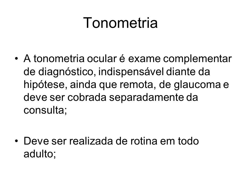 Tonometria A tonometria ocular é exame complementar de diagnóstico, indispensável diante da hipótese, ainda que remota, de glaucoma e deve ser cobrada