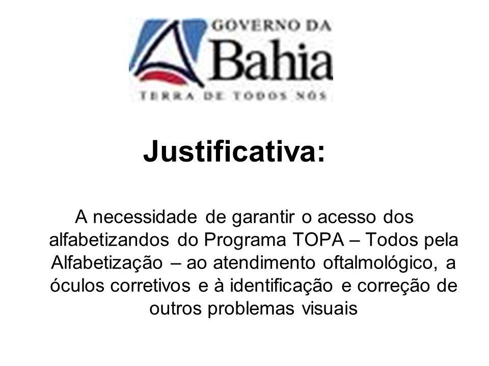 Justificativa: A necessidade de garantir o acesso dos alfabetizandos do Programa TOPA – Todos pela Alfabetização – ao atendimento oftalmológico, a ócu