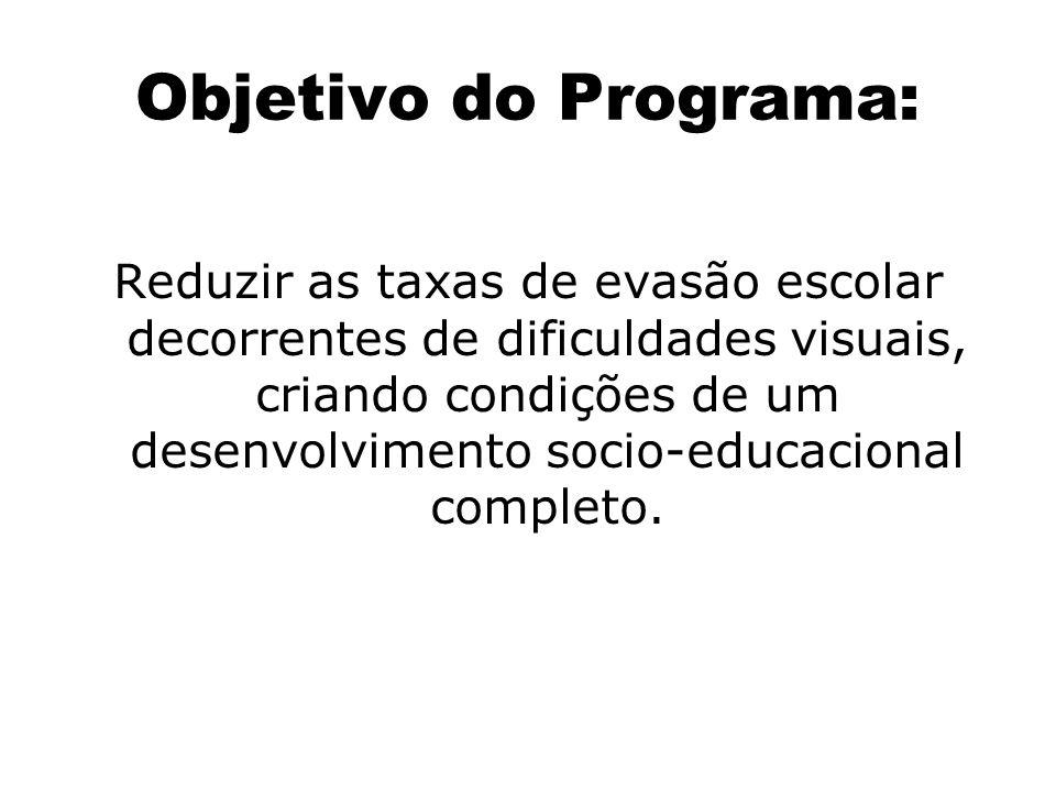 Objetivo do Programa: Reduzir as taxas de evasão escolar decorrentes de dificuldades visuais, criando condições de um desenvolvimento socio-educaciona