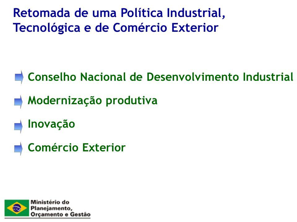 Conselho Nacional de Desenvolvimento Industrial Modernização produtiva Inovação Comércio Exterior Retomada de uma Política Industrial, Tecnológica e de Comércio Exterior