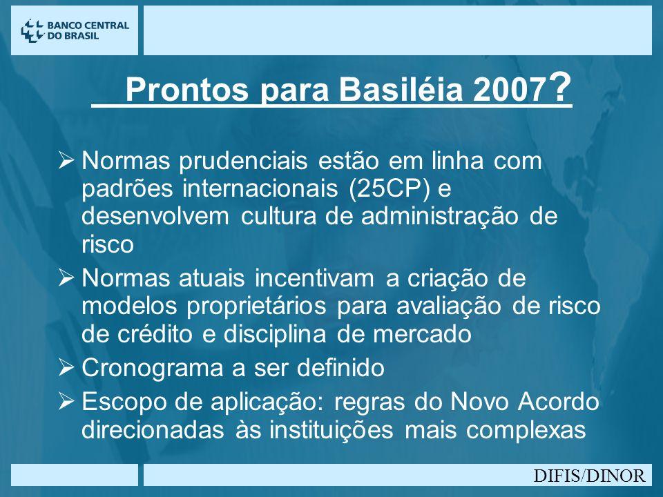 DIFIS/DINOR Prontos para Basiléia 2007 ? Normas prudenciais estão em linha com padrões internacionais (25CP) e desenvolvem cultura de administração de