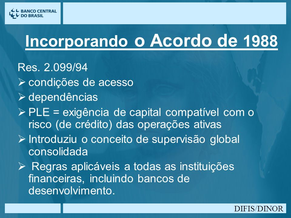 DIFIS/DINOR Incorporando o Acordo de 1988 Res. 2.099/94 condições de acesso dependências PLE = exigência de capital compatível com o risco (de crédito
