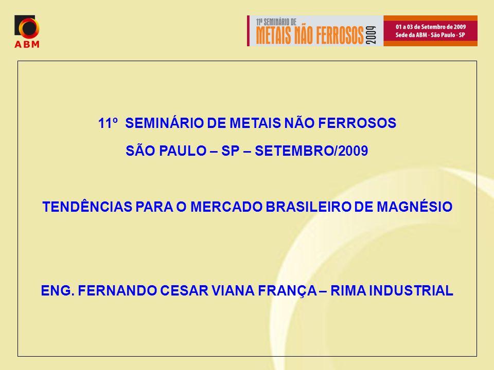 11º SEMINÁRIO DE METAIS NÃO FERROSOS SÃO PAULO – SP – SETEMBRO/2009 TENDÊNCIAS PARA O MERCADO BRASILEIRO DE MAGNÉSIO ENG.