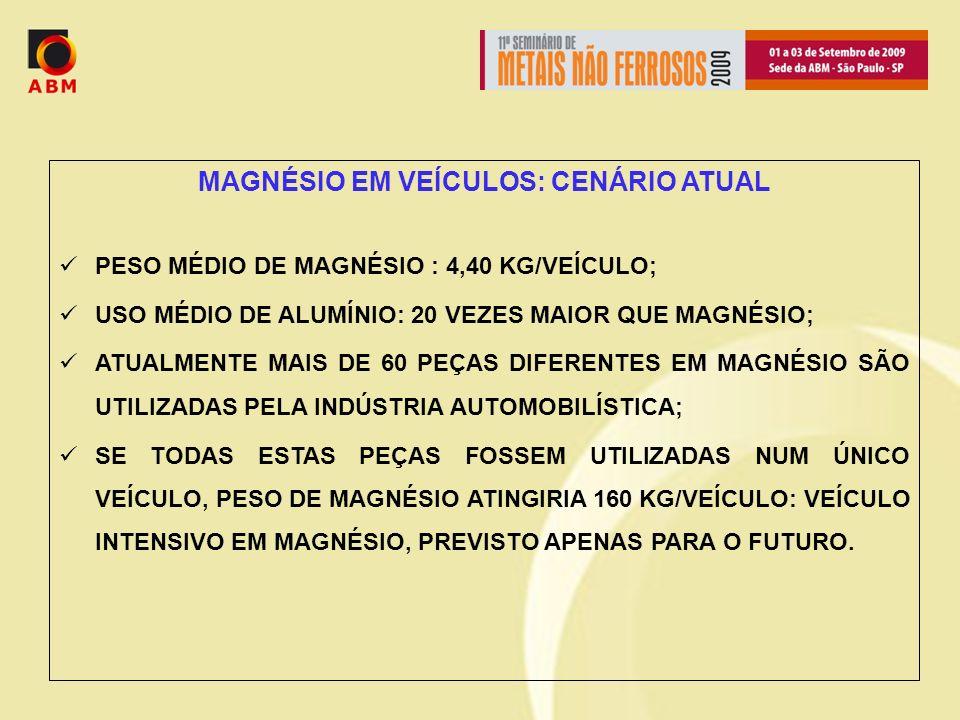 MAGNÉSIO EM VEÍCULOS: CENÁRIO ATUAL PESO MÉDIO DE MAGNÉSIO : 4,40 KG/VEÍCULO; USO MÉDIO DE ALUMÍNIO: 20 VEZES MAIOR QUE MAGNÉSIO; ATUALMENTE MAIS DE 60 PEÇAS DIFERENTES EM MAGNÉSIO SÃO UTILIZADAS PELA INDÚSTRIA AUTOMOBILÍSTICA; SE TODAS ESTAS PEÇAS FOSSEM UTILIZADAS NUM ÚNICO VEÍCULO, PESO DE MAGNÉSIO ATINGIRIA 160 KG/VEÍCULO: VEÍCULO INTENSIVO EM MAGNÉSIO, PREVISTO APENAS PARA O FUTURO.