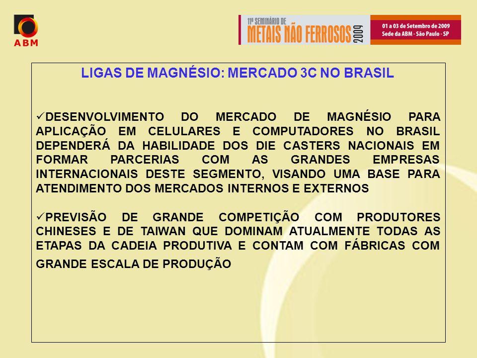 LIGAS DE MAGNÉSIO: MERCADO 3C NO BRASIL DESENVOLVIMENTO DO MERCADO DE MAGNÉSIO PARA APLICAÇÃO EM CELULARES E COMPUTADORES NO BRASIL DEPENDERÁ DA HABILIDADE DOS DIE CASTERS NACIONAIS EM FORMAR PARCERIAS COM AS GRANDES EMPRESAS INTERNACIONAIS DESTE SEGMENTO, VISANDO UMA BASE PARA ATENDIMENTO DOS MERCADOS INTERNOS E EXTERNOS PREVISÃO DE GRANDE COMPETIÇÃO COM PRODUTORES CHINESES E DE TAIWAN QUE DOMINAM ATUALMENTE TODAS AS ETAPAS DA CADEIA PRODUTIVA E CONTAM COM FÁBRICAS COM GRANDE ESCALA DE PRODUÇÃO