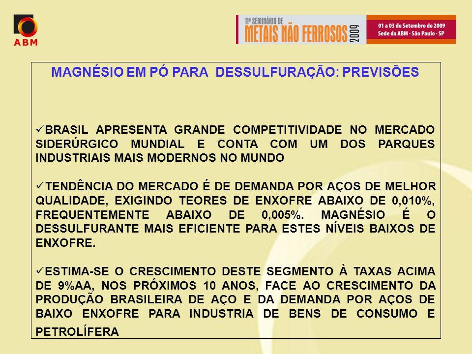 MAGNÉSIO EM PÓ PARA DESSULFURAÇÃO: PREVISÕES BRASIL APRESENTA GRANDE COMPETITIVIDADE NO MERCADO SIDERÚRGICO MUNDIAL E CONTA COM UM DOS PARQUES INDUSTRIAIS MAIS MODERNOS NO MUNDO TENDÊNCIA DO MERCADO É DE DEMANDA POR AÇOS DE MELHOR QUALIDADE, EXIGINDO TEORES DE ENXOFRE ABAIXO DE 0,010%, FREQUENTEMENTE ABAIXO DE 0,005%.