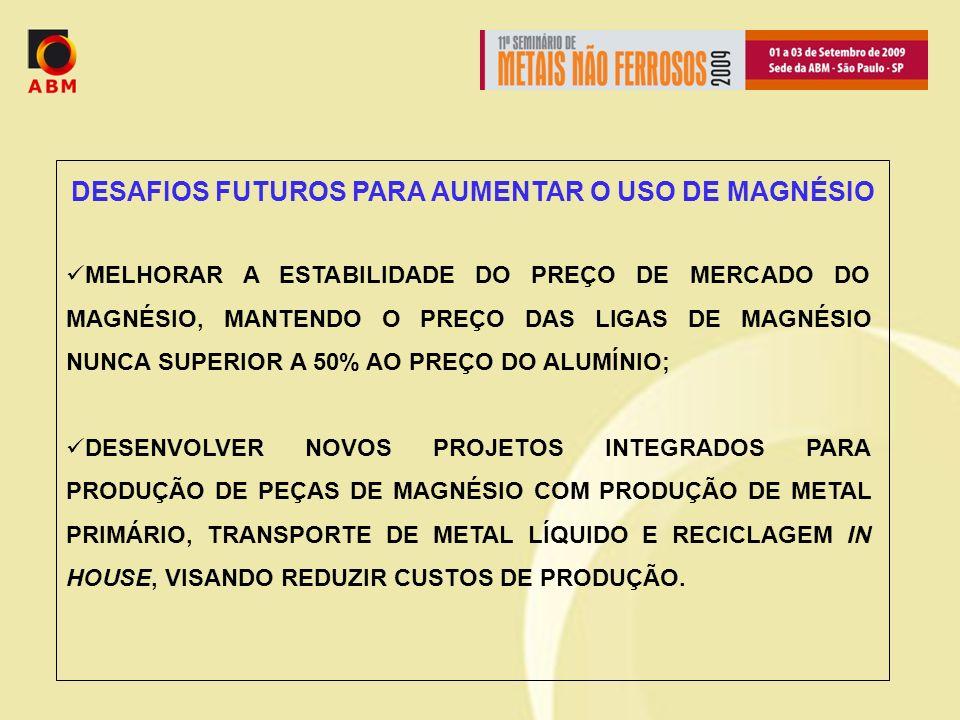DESAFIOS FUTUROS PARA AUMENTAR O USO DE MAGNÉSIO MELHORAR A ESTABILIDADE DO PREÇO DE MERCADO DO MAGNÉSIO, MANTENDO O PREÇO DAS LIGAS DE MAGNÉSIO NUNCA SUPERIOR A 50% AO PREÇO DO ALUMÍNIO; DESENVOLVER NOVOS PROJETOS INTEGRADOS PARA PRODUÇÃO DE PEÇAS DE MAGNÉSIO COM PRODUÇÃO DE METAL PRIMÁRIO, TRANSPORTE DE METAL LÍQUIDO E RECICLAGEM IN HOUSE, VISANDO REDUZIR CUSTOS DE PRODUÇÃO.