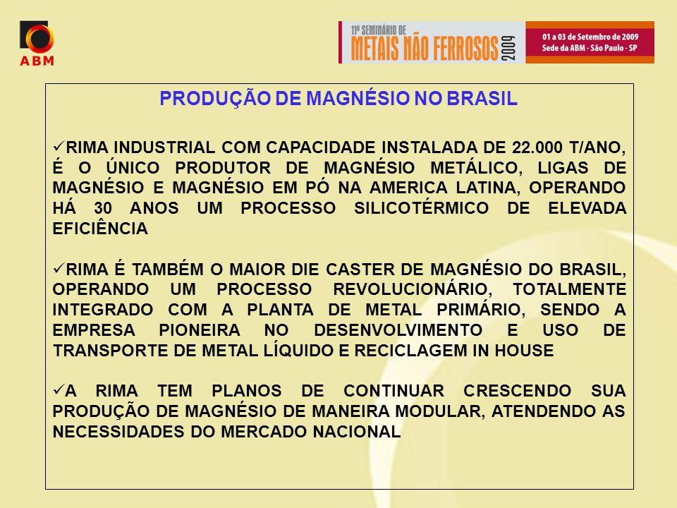 PRODUÇÃO DE MAGNÉSIO NO BRASIL RIMA INDUSTRIAL COM CAPACIDADE INSTALADA DE 22.000 T/ANO, É O ÚNICO PRODUTOR DE MAGNÉSIO METÁLICO, LIGAS DE MAGNÉSIO E MAGNÉSIO EM PÓ NA AMERICA LATINA, OPERANDO HÁ 30 ANOS UM PROCESSO SILICOTÉRMICO DE ELEVADA EFICIÊNCIA RIMA É TAMBÉM O MAIOR DIE CASTER DE MAGNÉSIO DO BRASIL, OPERANDO UM PROCESSO REVOLUCIONÁRIO, TOTALMENTE INTEGRADO COM A PLANTA DE METAL PRIMÁRIO, SENDO A EMPRESA PIONEIRA NO DESENVOLVIMENTO E USO DE TRANSPORTE DE METAL LÍQUIDO E RECICLAGEM IN HOUSE A RIMA TEM PLANOS DE CONTINUAR CRESCENDO SUA PRODUÇÃO DE MAGNÉSIO DE MANEIRA MODULAR, ATENDENDO AS NECESSIDADES DO MERCADO NACIONAL