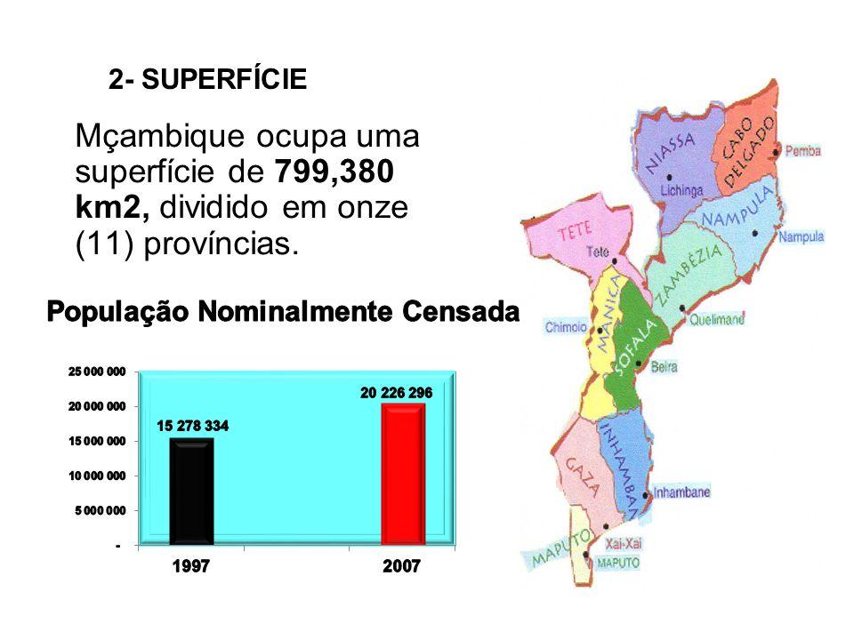 Mçambique ocupa uma superfície de 799,380 km2, dividido em onze (11) províncias. 2- SUPERFÍCIE