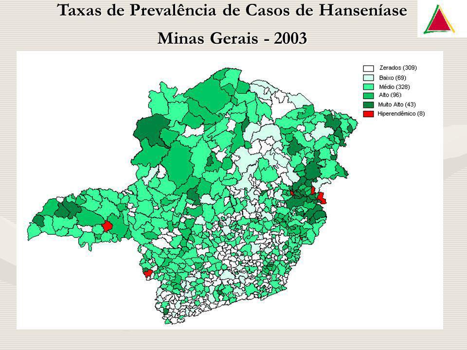 Taxas de Prevalência de Casos de Hanseníase Minas Gerais - 2003