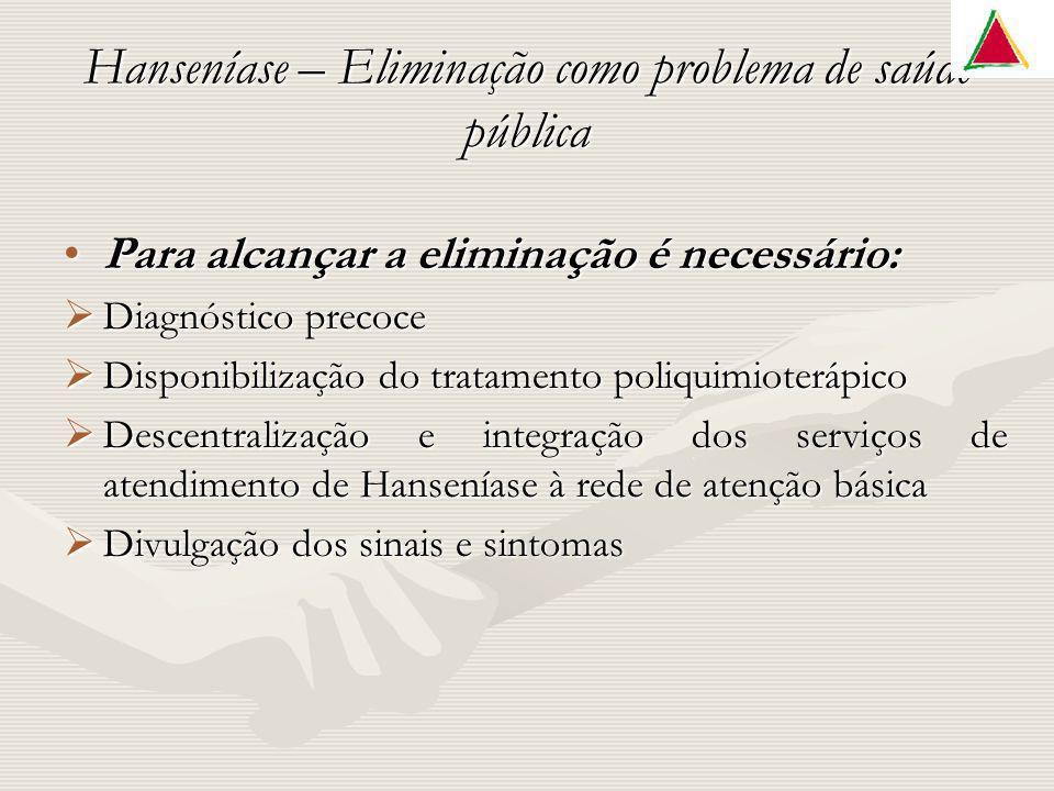 Hanseníase – Eliminação como problema de saúde pública Para alcançar a eliminação é necessário:Para alcançar a eliminação é necessário: Diagnóstico pr