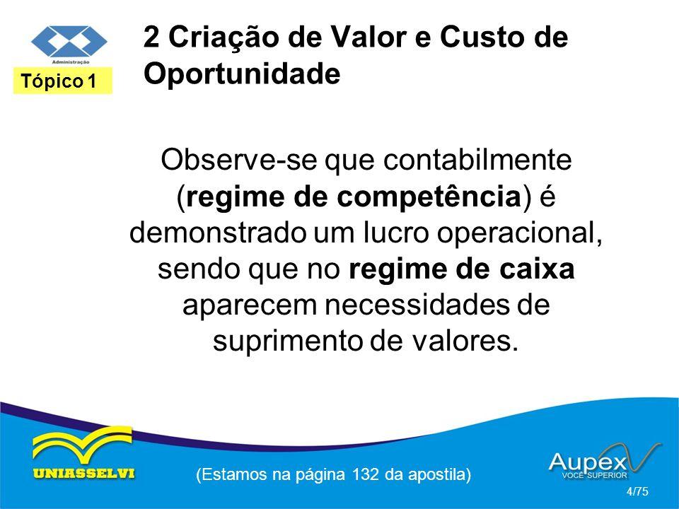 2 Criação de Valor e Custo de Oportunidade Observe-se que contabilmente (regime de competência) é demonstrado um lucro operacional, sendo que no regim