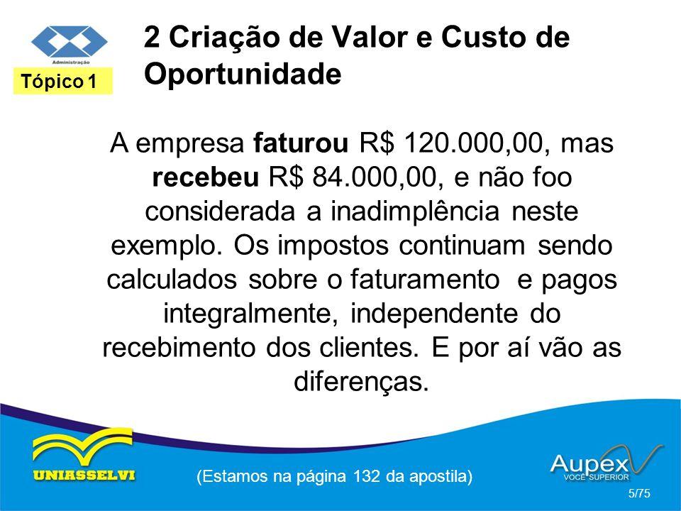 2 Criação de Valor e Custo de Oportunidade A empresa faturou R$ 120.000,00, mas recebeu R$ 84.000,00, e não foo considerada a inadimplência neste exem