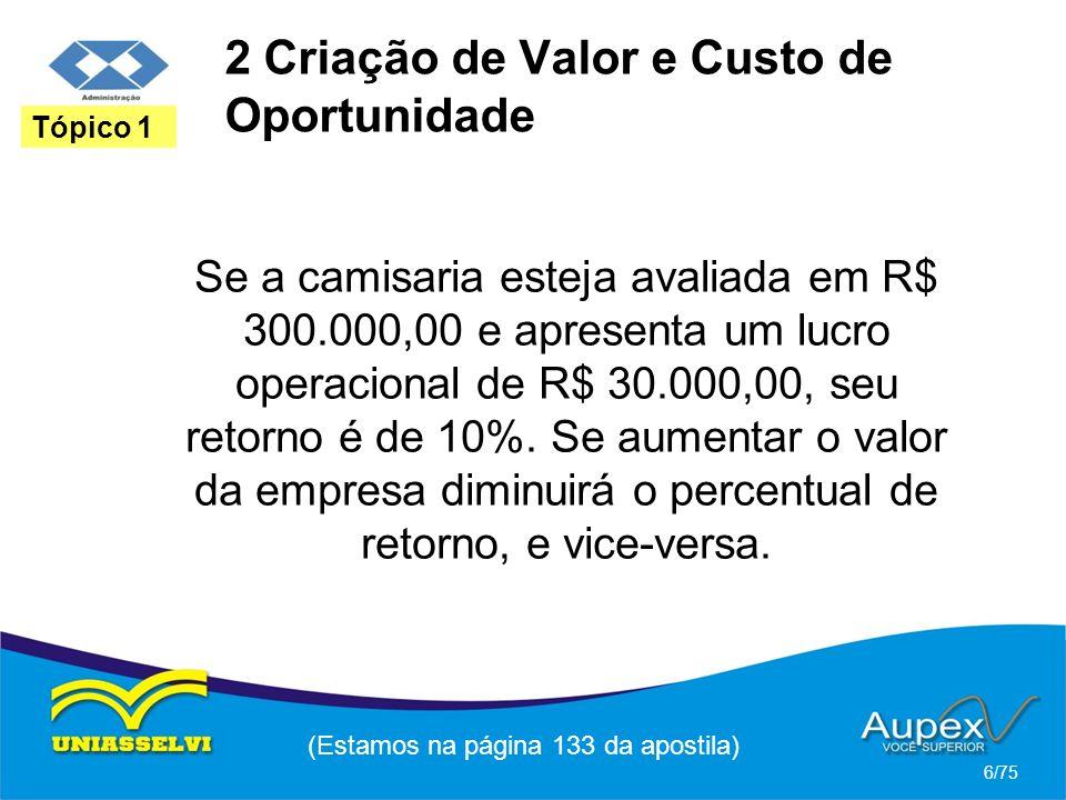 2 Criação de Valor e Custo de Oportunidade Se a camisaria esteja avaliada em R$ 300.000,00 e apresenta um lucro operacional de R$ 30.000,00, seu retor